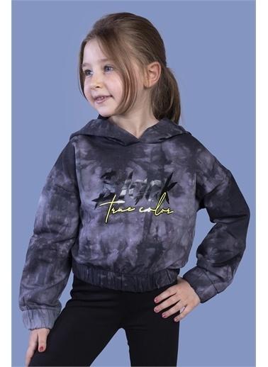 Toontoy Kids Toontoy Kız Çocuk Crop Model Batik Desenli Baskılı Sweatshirt Siyah